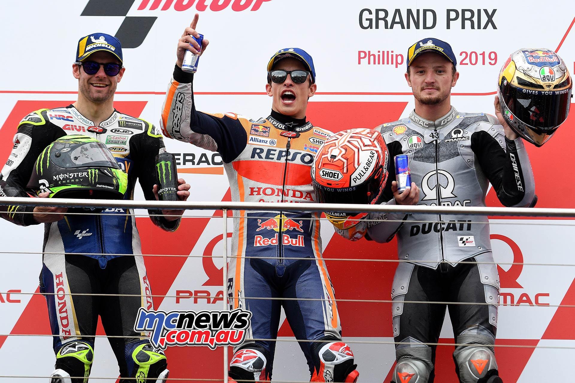 MotoGP Phillip Island Australia Race Podium Marquez Crutchlow Miller