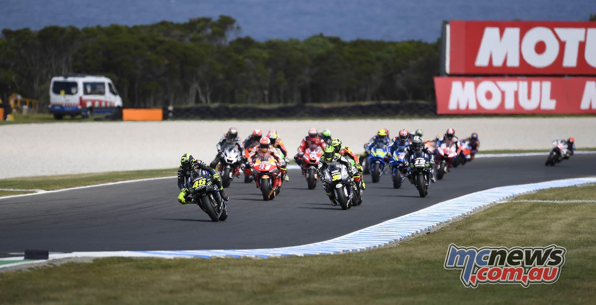 MotoGP Phillip Island Australia Race Start Rossi Leader