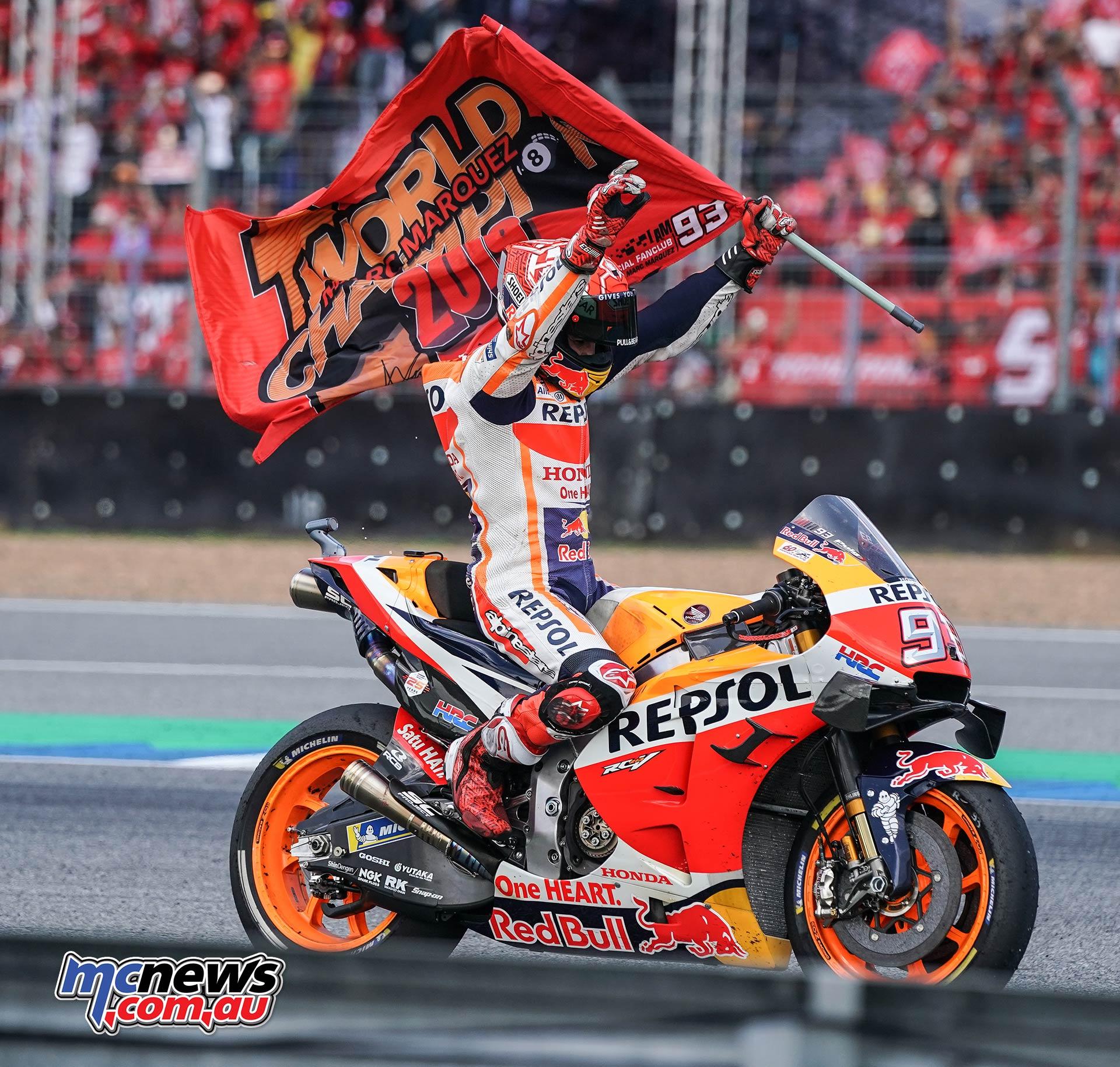 MotoGP Rnd Thailand Race Marquez Flags