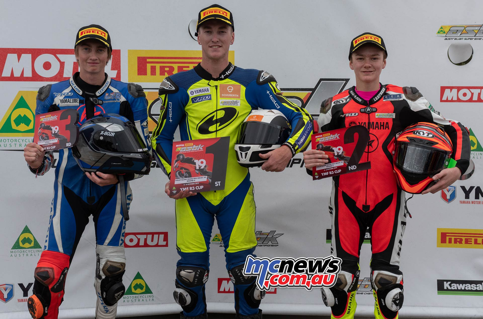 ASBK Rnd Phillip Island RbMotoLens R Cup R Parc Ferme Round Winners Locy Taylor Hunter Ford Max Stauffer Sunday