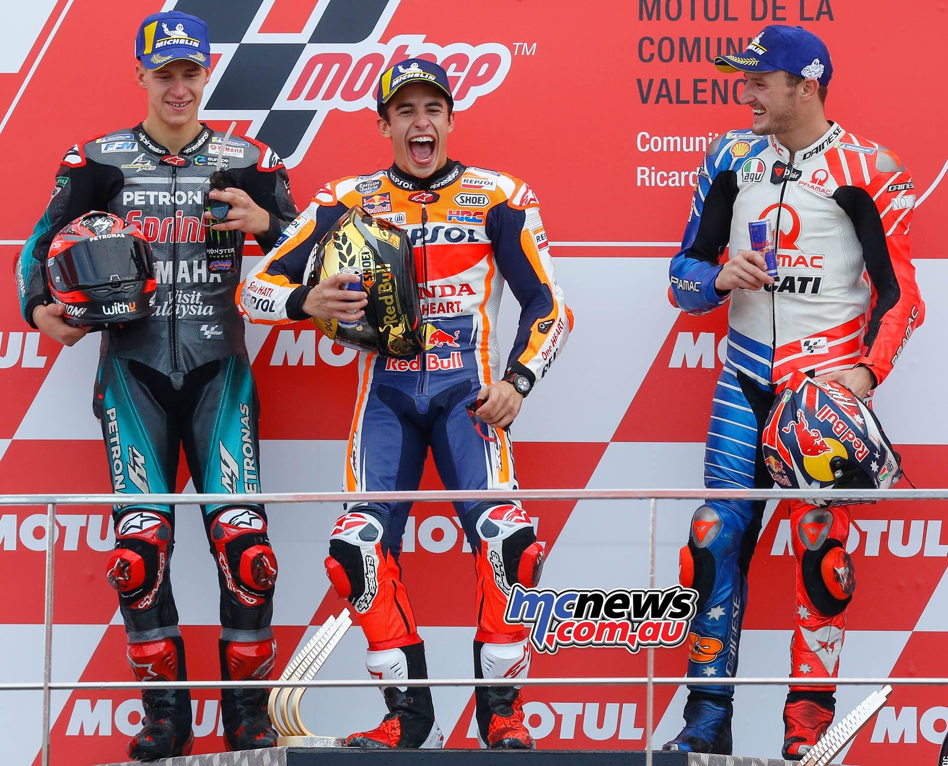 MotoGP Rnd Valencia Race Podium Marquez Quartararo Miller