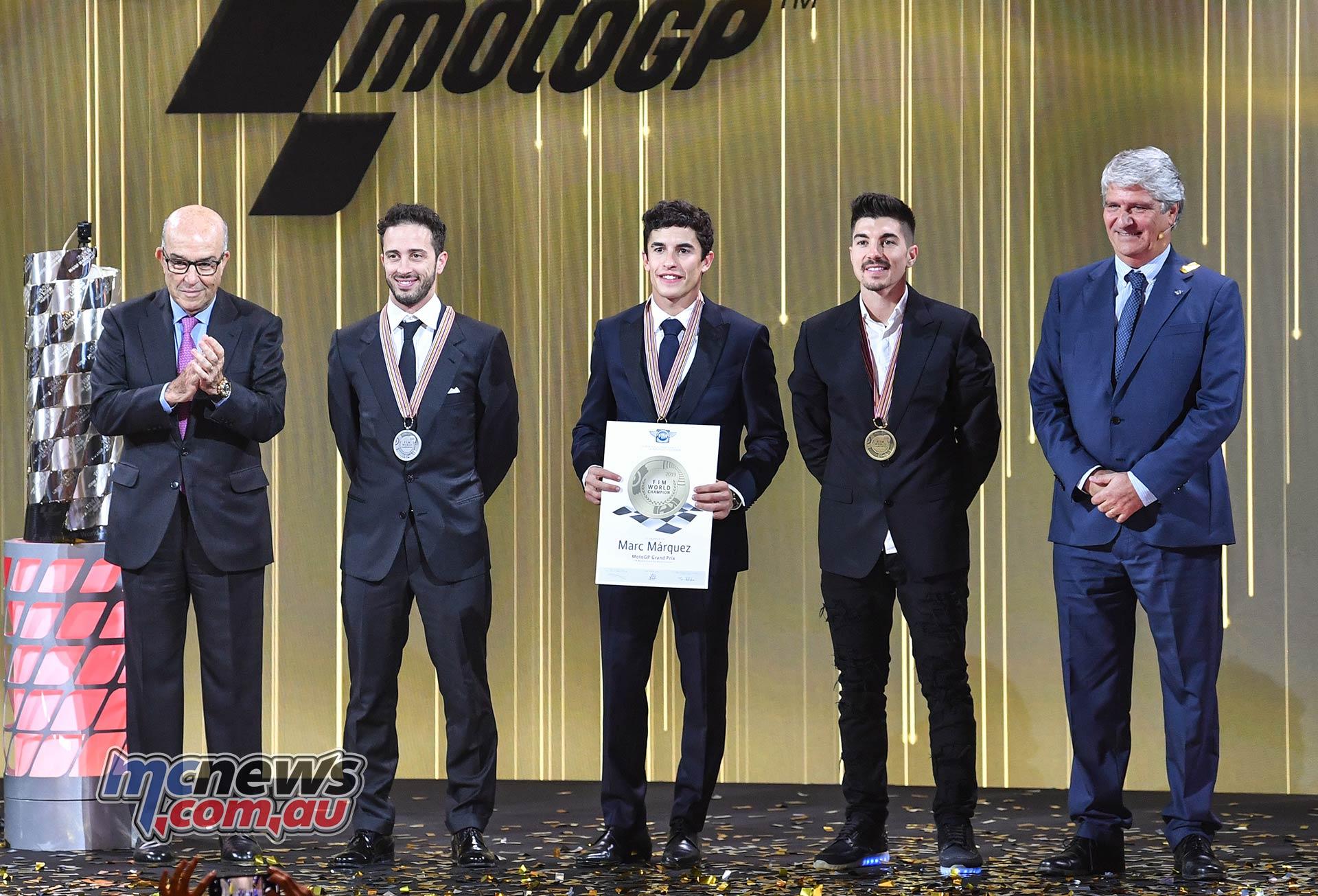 FIM MotoGP Awards Ceremony Ezpeleta Marquez Dovizioso Vinales