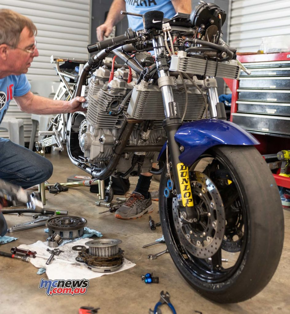 IIC Phillip Island RbMotoLens Pits Josh Hayes bike being repaired