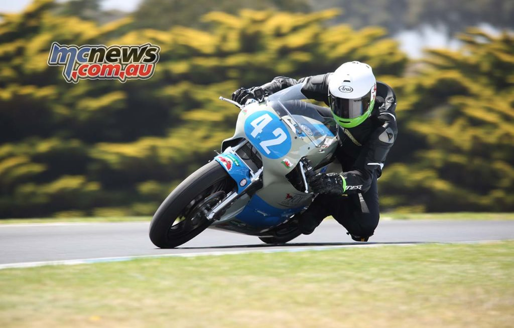 Alex Sinclair in action at Phillip Island Lukey Heights