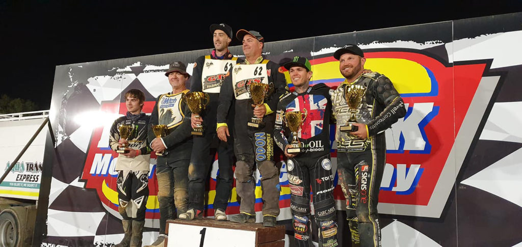 Sidecar podium for the EUROCARS sponsored Jeff Gittus Memorial Sidecar Classic Nash Brown winners Headland Woffinden ndand Mitchell Cornwall