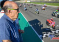 MotoE World Cup test Valencia Final Dorna CEO Carmelo Ezpeleta watches on