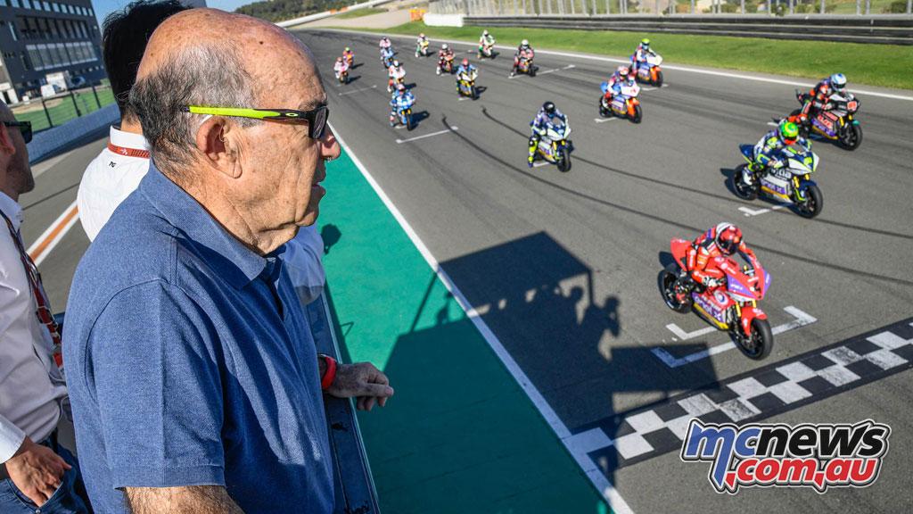 MotoE World Cup test Valencia Final Dorna CEO Carmelo Ezpeleta watches on