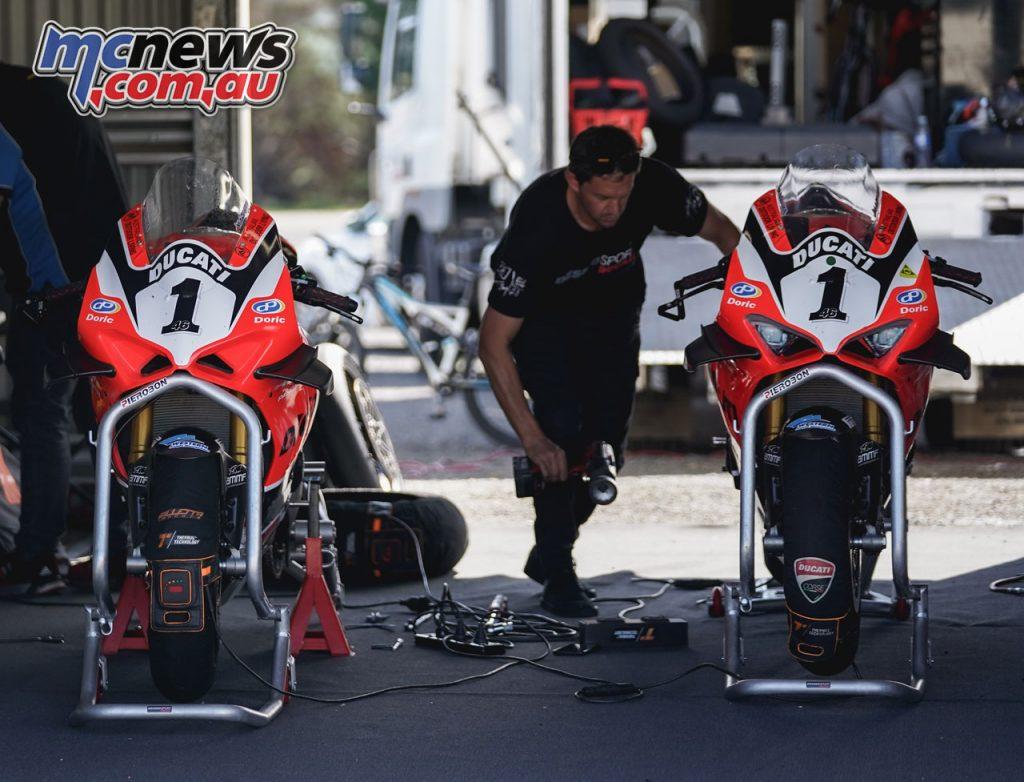 ASBK Wakefield Park Test TDJ Desmosport Ducati Pit Lane