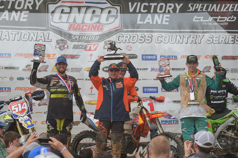 GNCC Rnd The Specialized General Steward Baylor Kailub Russell Josh Strang podium KH