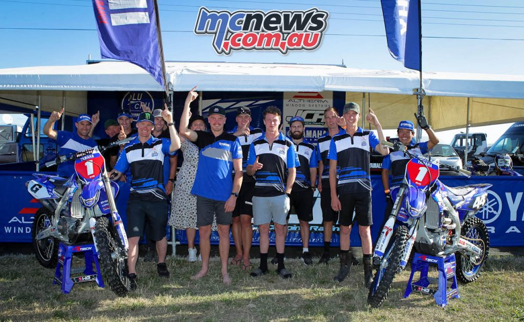 The double title winning Altherm JCR Yamaha team celebrate victory in the MX and MX Fox New Zealand Motocross Championships.