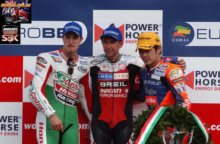 WorldSBK Rnd Monza Monza Podium Bayliss Edwards Haga p