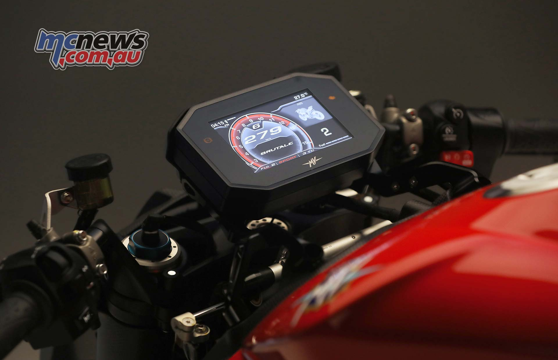 Five-inch full-colour TFT dash sits at an odd angle