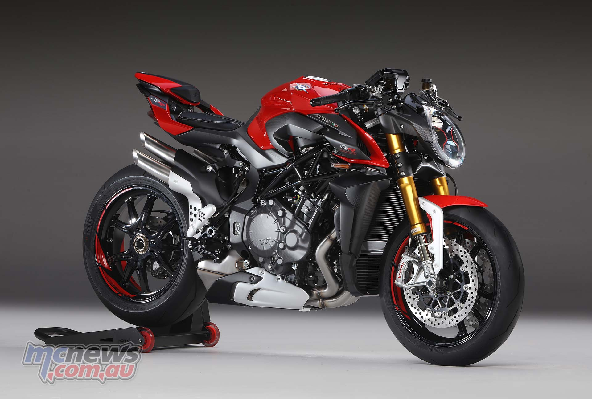 208 horsepower at 13,000 rpm from the Brutale RR