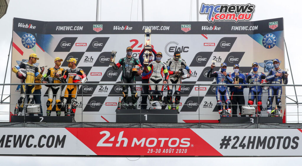 GERT56 by GS Yuasa's win ahead of No Limits Motor Team and Moto Ain in the Superstock
