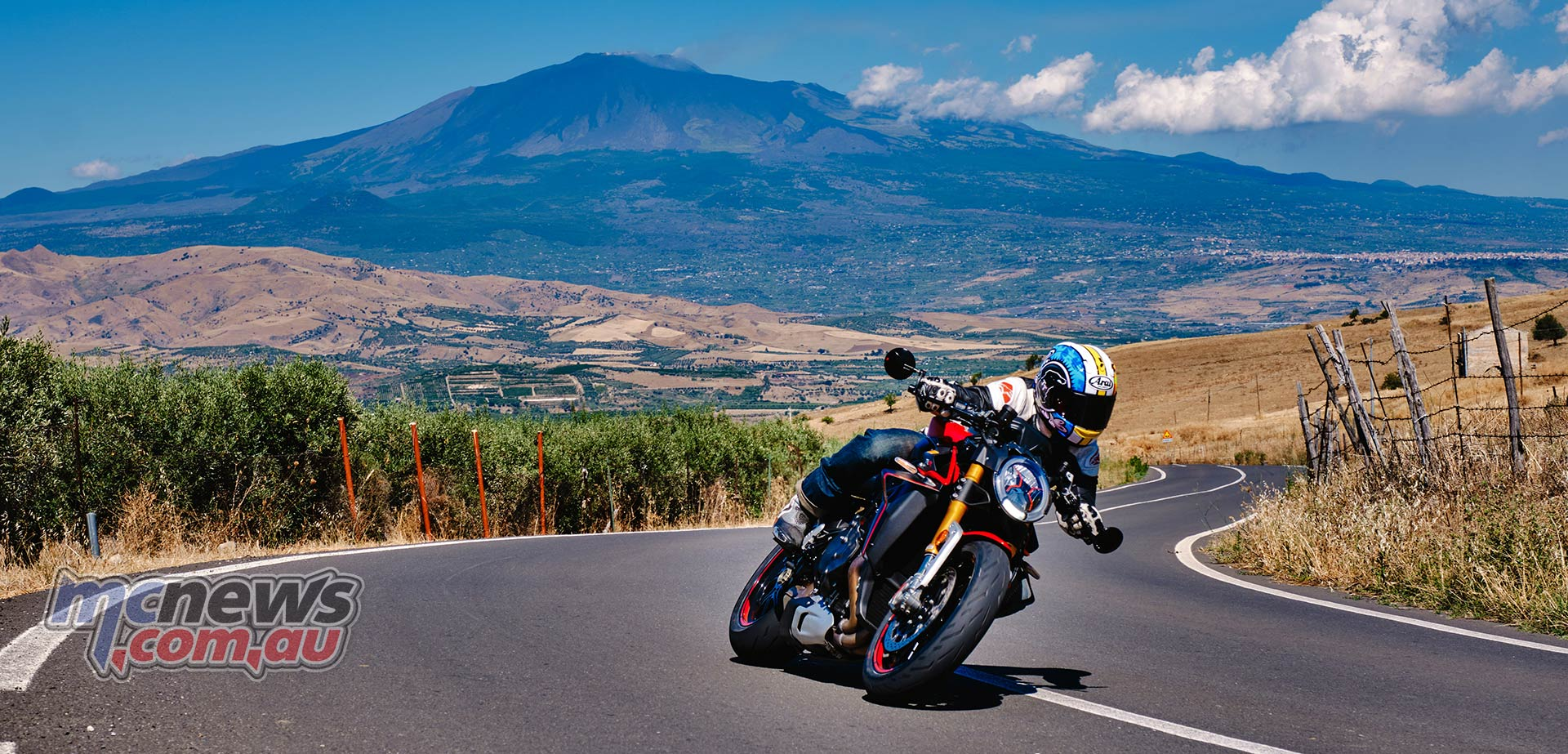Mount Etna provides a stunning backdrop to the equally stunning MV Agusta Brutale 1000 RR
