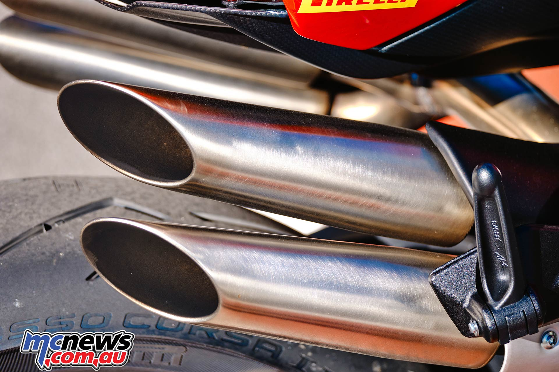 Four-into-one-into-four exhaust system which is made in partnership with Arrow