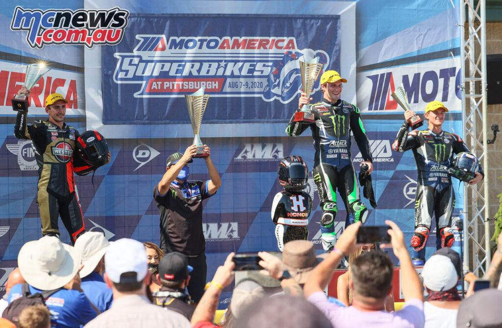 Mathew Scholtz, Cameron Beaubier, Jake Gage on the podium on Saturday - 2020 MotoAmerica Round 4, Pittsburgh