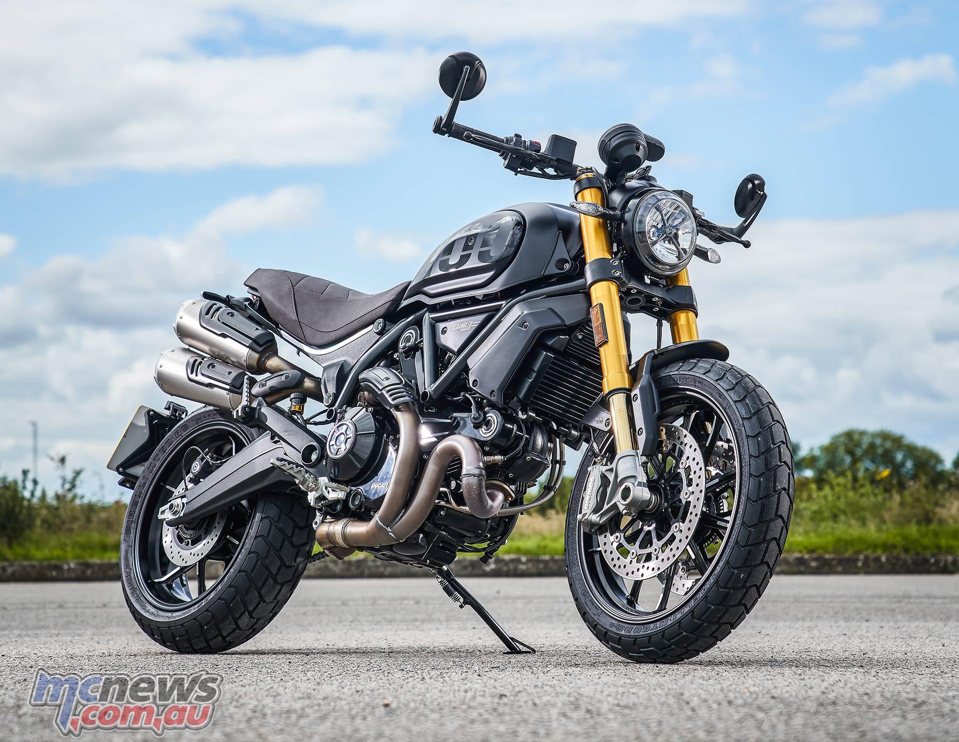 2021 Ducati Scrambler 1100 Sport Pro is in Matt Black everywhere apart form the brown seat