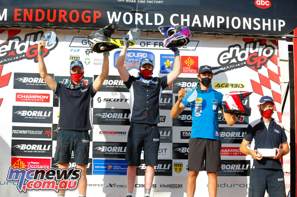 EnduroGP Day 2 Podium - Brad Freeman took second, Holcombe first, and