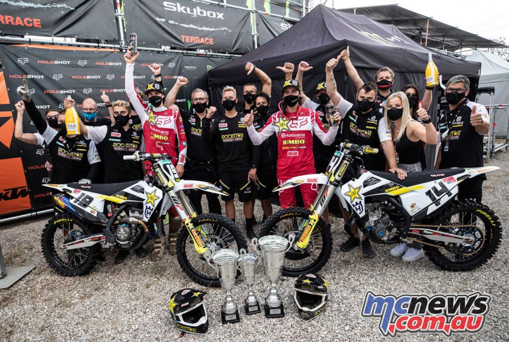 Jed Beaton and Thomas Kjer Olsen celebrate a successful MXGP of Lombardia