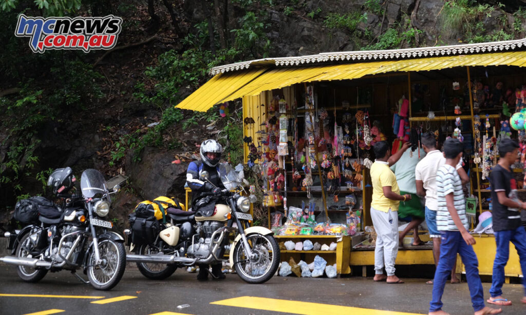 Roadside stall in Sri Lanka and Rohan with our Royal Enfield 350s. They were just right.