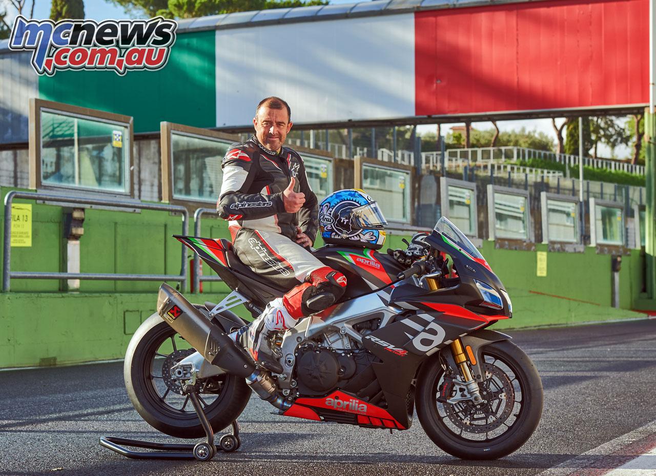 Adam Child with the 2020 Aprilia RSV4 1100 Factory at Vallelunga