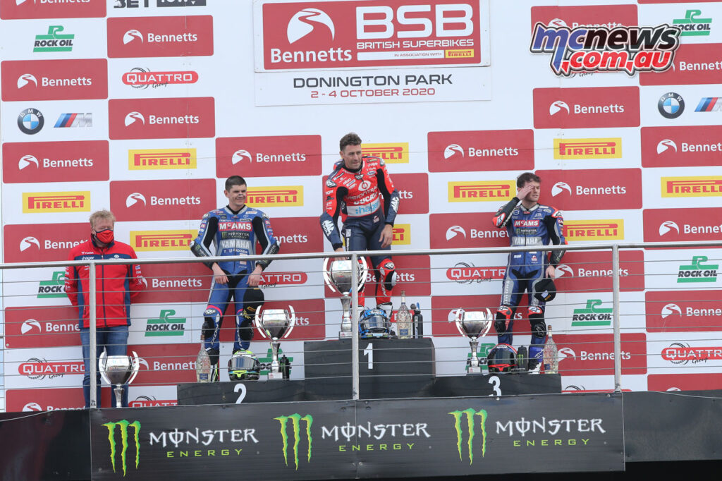 Josh Brookes took the Race 2 win, as well as the championship lead at Donington