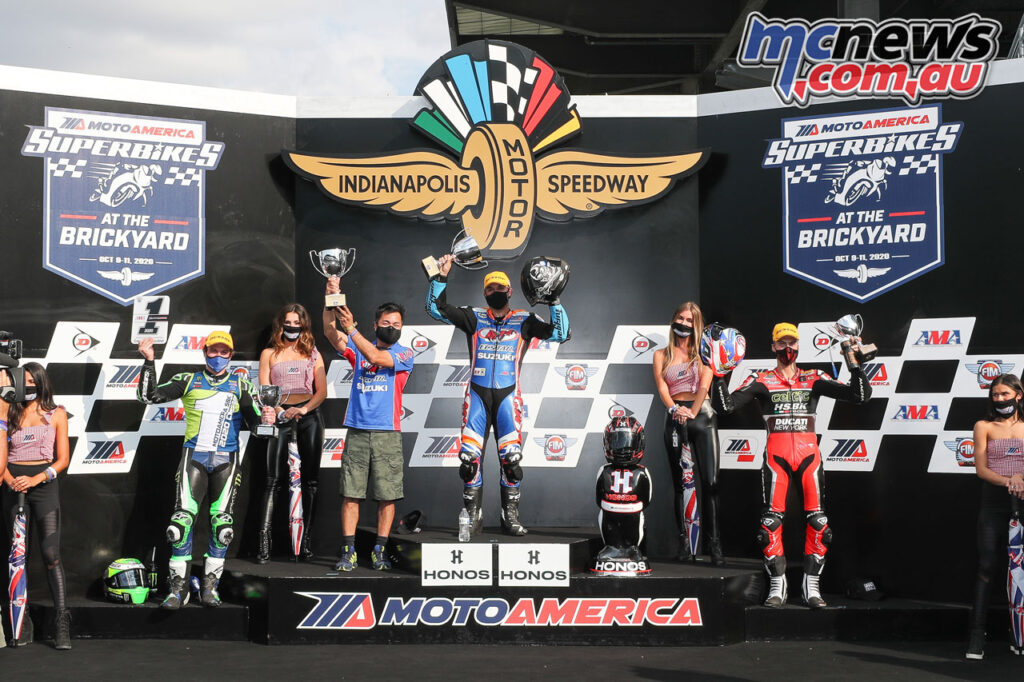 Bobby Fong topping the podium on Sunday from Beaubier and Zanetti