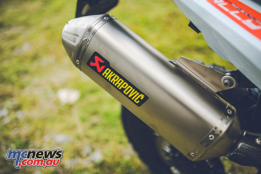 The 2021 KTM 890 Adventure R Rally features a new lighter Akrapovic exhaust