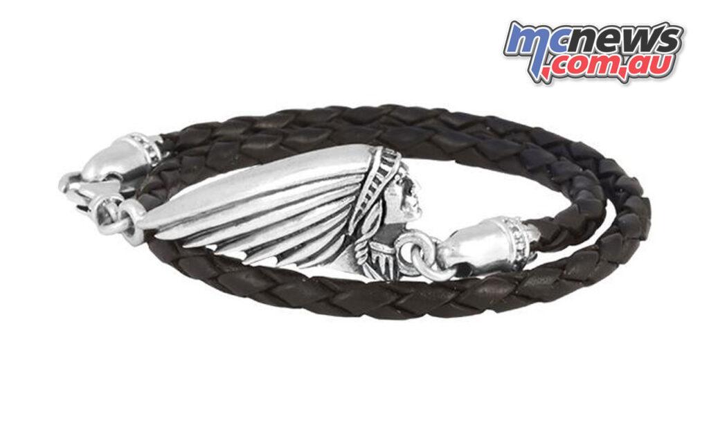 Thin Braided Black Leather Indian Headdress Double Wrap Bracelet
