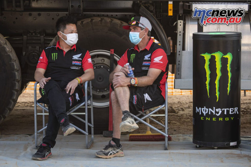 Taichi Honda (HRC Offroad Race Operations Manager) and Johnny Campbell