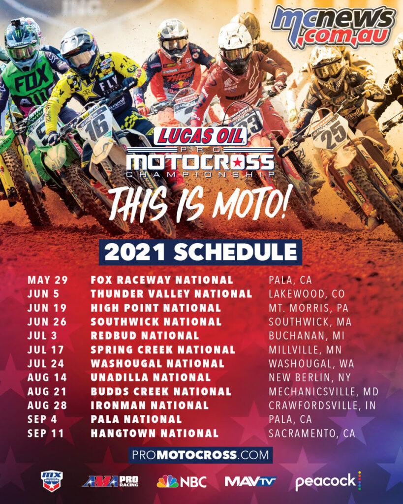 12-Round 2021 Lucas Oil Pro Motocross Championship announced