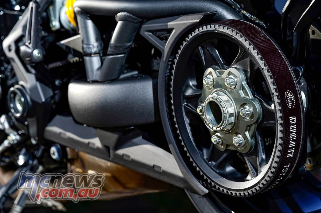 Power is delivered to the rear wheel on the XDiavel via a belt final drive
