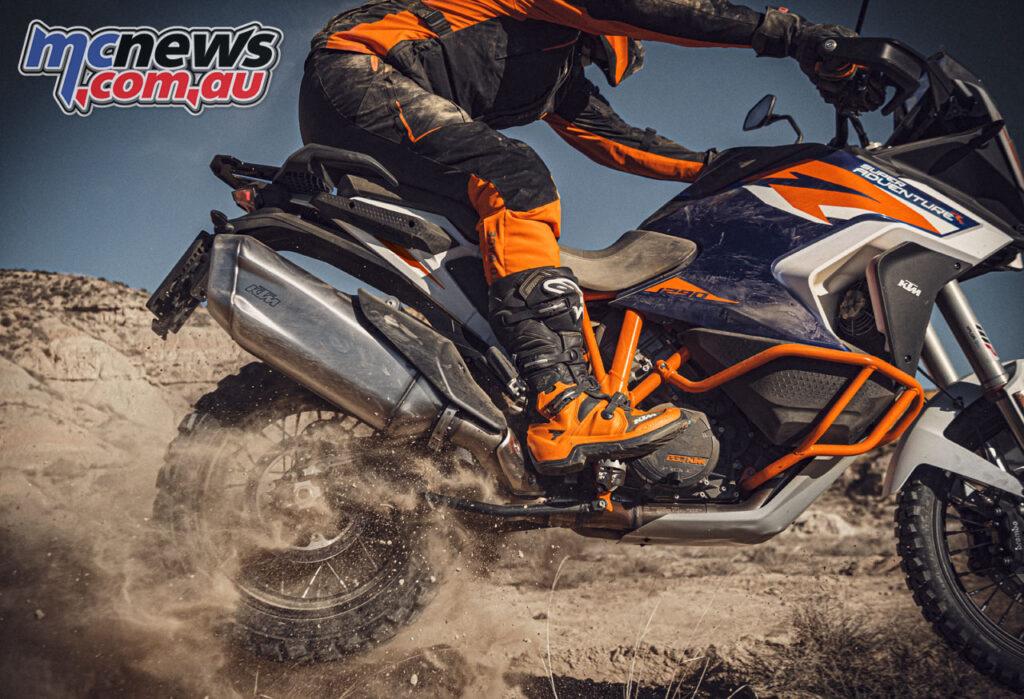 Bodywork on the 2021 KTM 1290 Super Adventure R was designed for ergonomics on rough terrain