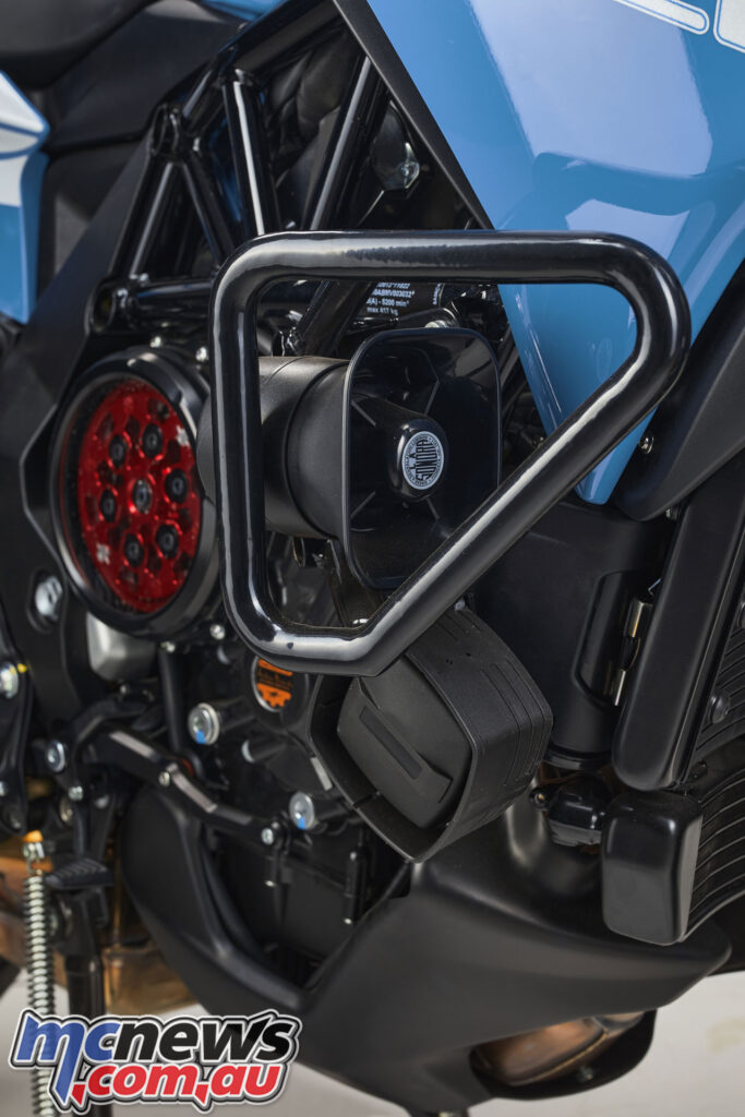 Crash bars protect the 800 triple, which also features the eye catching SCS clutch