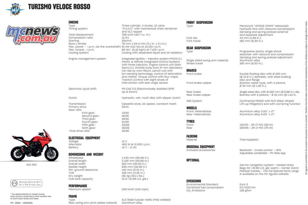 2021 MV Agusta Turismo Veloce Rosso Specifications