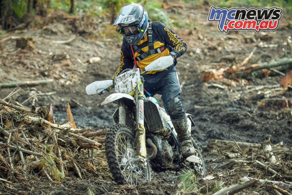 Cambridge's Dylan Yearbury (Husqvarna FE350), the new championship leader after a solid weekend in Marlborough. Photo by Andy McGechan, BikesportNZ.com