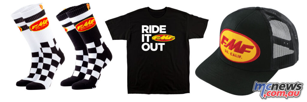 FMF casual gear includes socks, t-shirts and caps