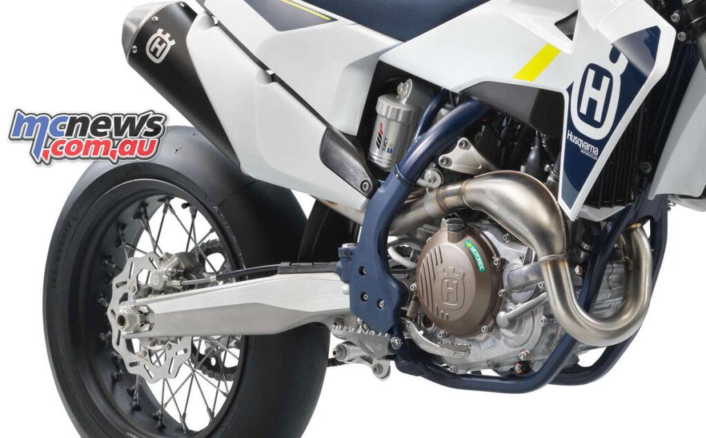 The 2022 Husqvarna FS 450 runs a chromium molybdenum steel frame