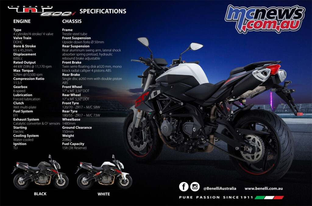 Benelli TNT 600i LAMS Specifications