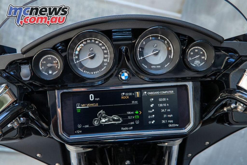 The dash setup on the R 18s includes four clocks and a huge TFT display