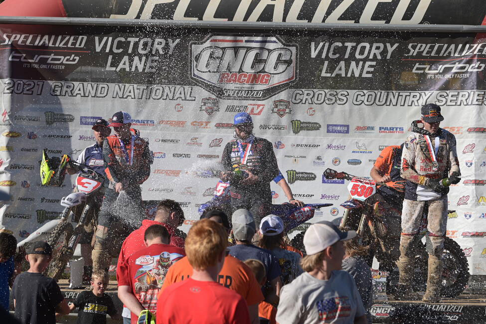 Baylor topped the Burr Oak GNCC podium from Ashburn and Kelley - Image by Ken Hill