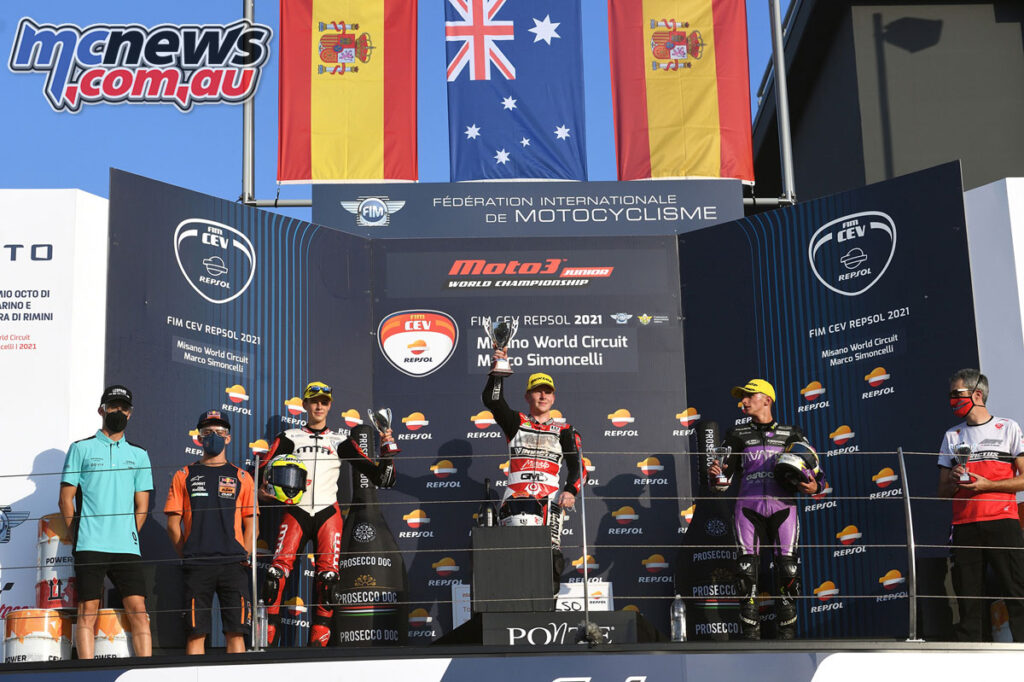 Joel Kelso topped the podium from Ortola and - Junior Moto3 Repsol CEV Round 7 - Misano