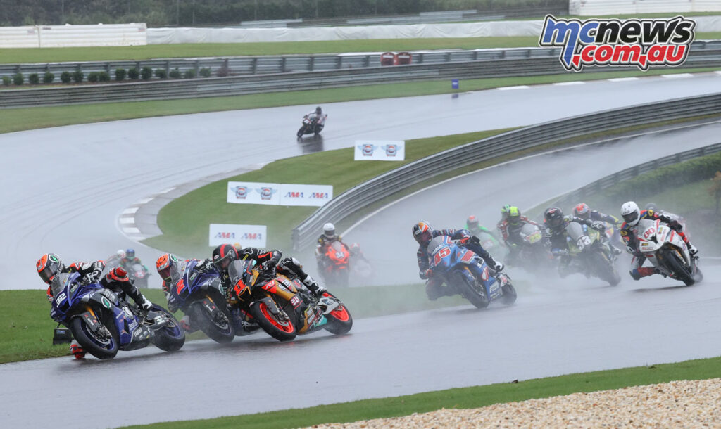 Jake Gagne in the lead in wet conditions at Barber Motorsport Park