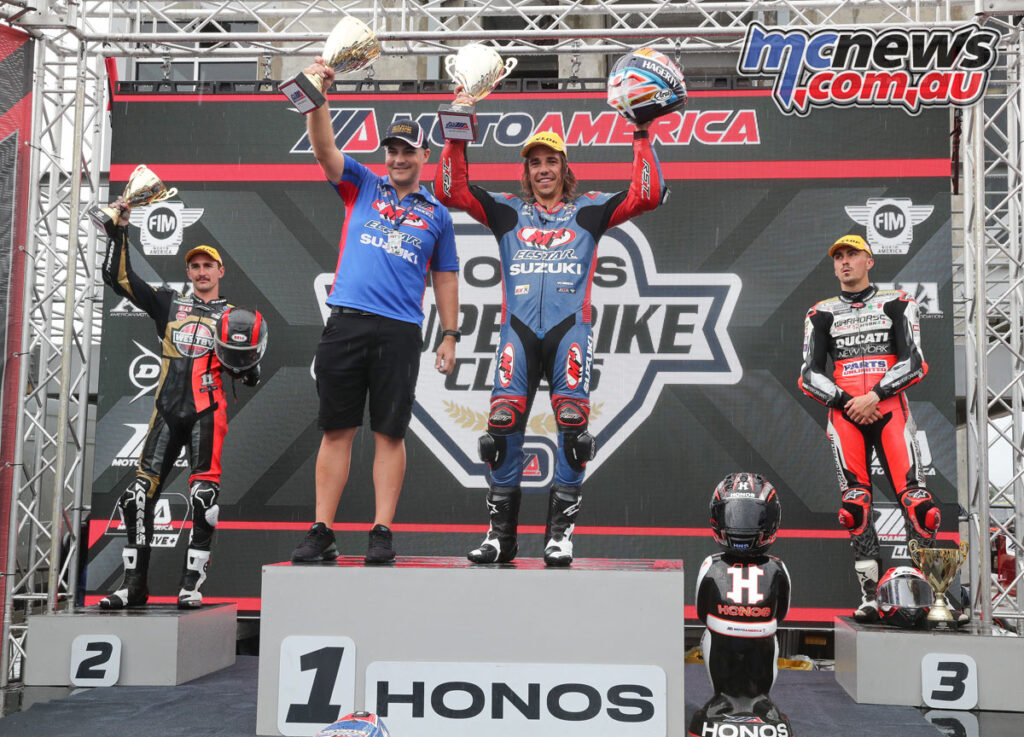 Petersen topped the Race 1 podium from Scholtz and Baz at Barber
