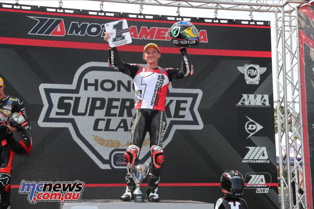Jake Gagne celebrated his championship victory Sunday