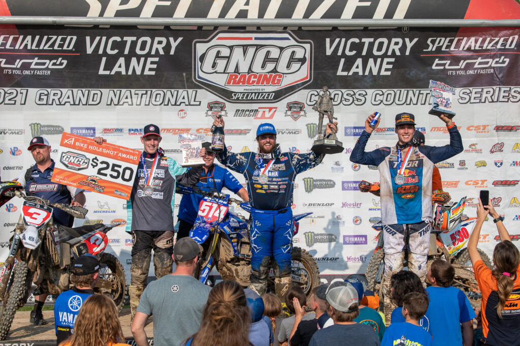 Steward Baylor topped the podium from Ashburn and Kelley - 2021 Rocky Mountain Mountaineer GNCC - Image by Ken Hill