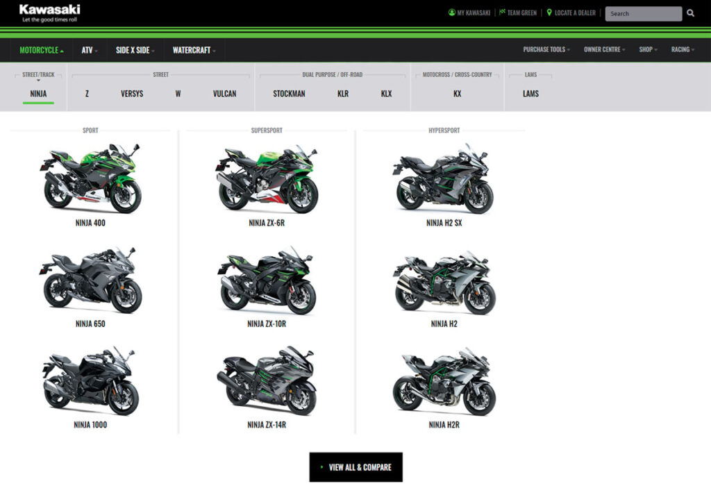 It's never been easier to check out the full range of Kawasaki motorcycles available in Australia