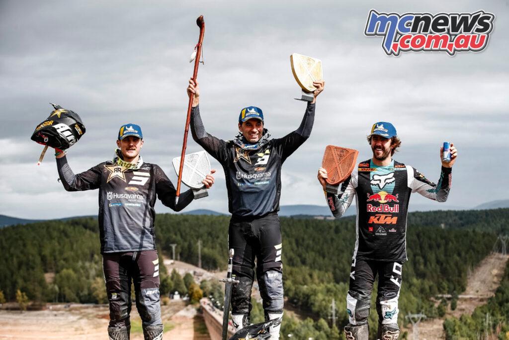 Alfredo Gomez wins the 2021 Hixpania Hard Enduro from teammate Billy Bolt and KTM's Manuel Lettenbichler
