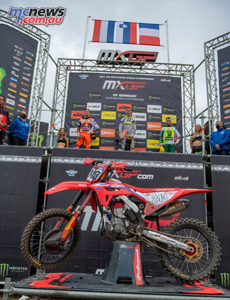 Tim Gajser claims the top spot in the 2021 MXGP of Germany